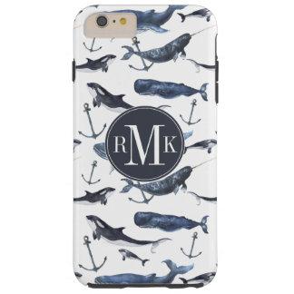 Watercolor Whale & Anchor Pattern Tough iPhone 6 Plus Case