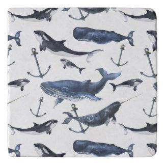 Watercolor Whale & Anchor Pattern Trivet
