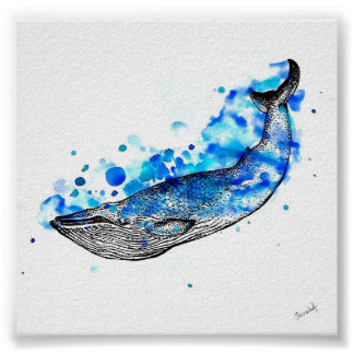 Watercolor Whale Poster