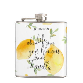 Watercolor When Life Gives You Lemons | Wedding Hip Flask