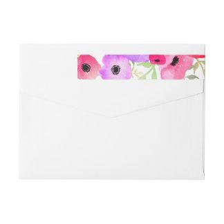 Watercolor Whimsical Floral Wedding Wraparound Return Address Label