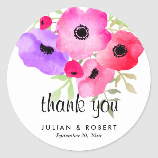 Watercolor Whimsical Flowers Wedding Thank You Classic Round Sticker