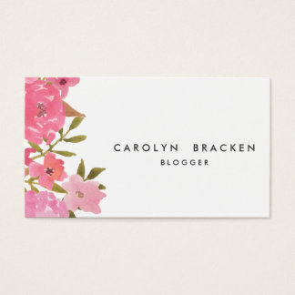 Watercolor Whimsical Pink Floral Business Card