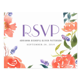 Watercolor Whimsical Red Flowers Wedding RSVP Postcard