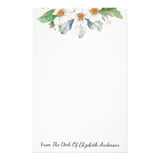 Watercolor White Floral Personalized Stationery