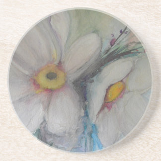 Watercolor White Flower Coaster