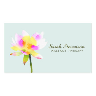 Watercolor White Lotus Holistic Health Spa Business Card