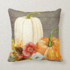 Watercolor White Pumpkin Red Poppy Fall Leaf Wood Throw Pillow