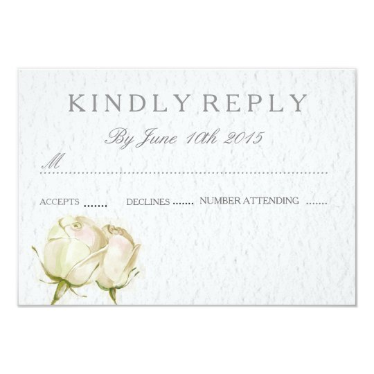 watercolor white rose RSVP wedding cards