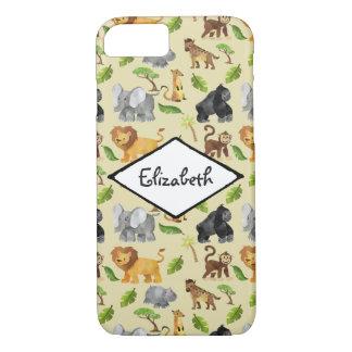 Watercolor Wild Animal Safari Jungle Pattern iPhone 8/7 Case