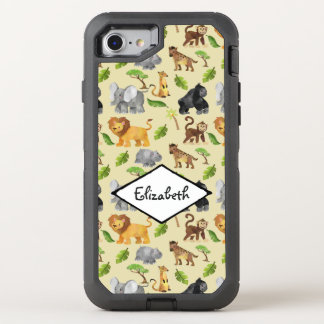 Watercolor Wild Animal Safari Jungle Pattern OtterBox Defender iPhone 8/7 Case