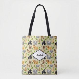 Watercolor Wild Animal Safari Jungle Pattern Tote Bag