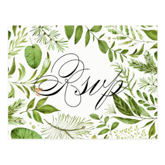 Watercolor Wild Green Foliage RSVP Postcard