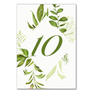 Watercolor Wild Green Foliage Table Number 10 Card