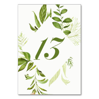 Watercolor Wild Green Foliage Table Number 13 Card