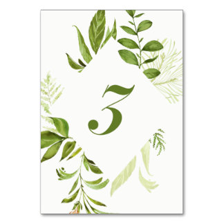 Watercolor Wild Green Foliage Table Number 3 Card