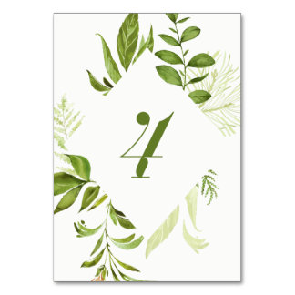 Watercolor Wild Green Foliage Table Number 4 Card