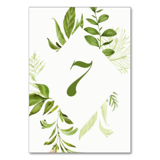 Watercolor Wild Green Foliage Table Number 7 Card