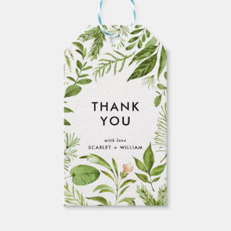 Watercolor Wild Green Foliage Thank You Gift Tags
