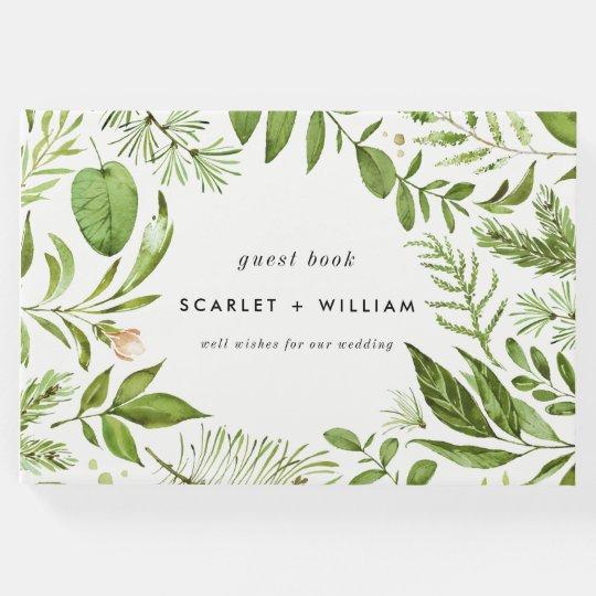 Watercolor Wild Green Foliage Wreath Wedding Guest Book