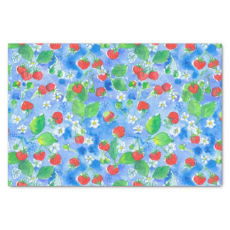 Watercolor Wild Strawberries Blue Tissue Paper