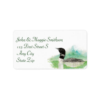 Watercolor Wilderness Common Loon Bird Address Label