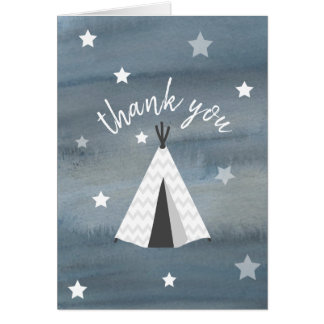 Watercolor Wilderness Stars Tipi Thank You Card