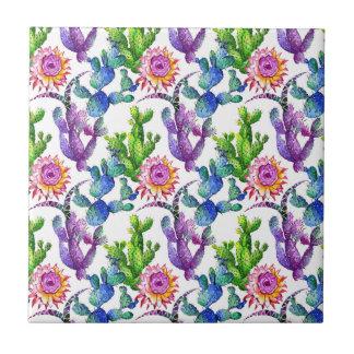 Watercolor Wildflower Cactus Pattern Tile