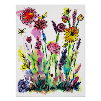 Watercolor Wildflowers Poster