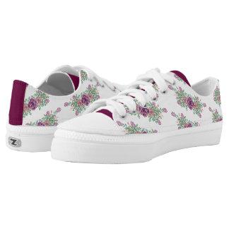 Watercolor Wine Blush Floral Succulent Low-Top Sneakers