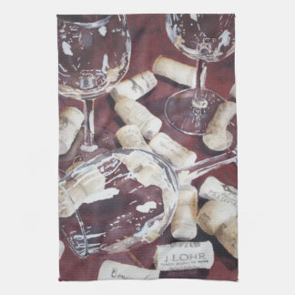 Watercolor Wine Time Glass Cork Kitchen Towel