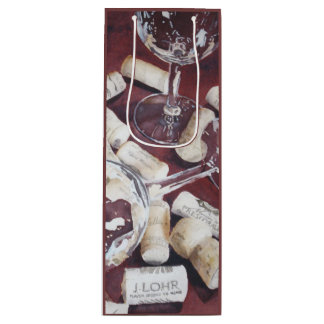Watercolor Wine Time Glass Cork Print Gift Bag