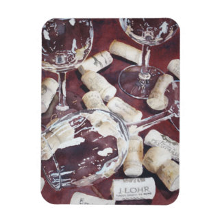 Watercolor Wine Time Glass Cork Print Magnet