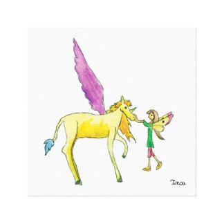 Watercolor Winged Unicorn Riding Canvas Wall Art