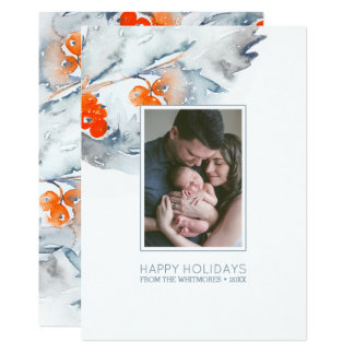 Watercolor Winter Berry Happy Holidays Photo Card