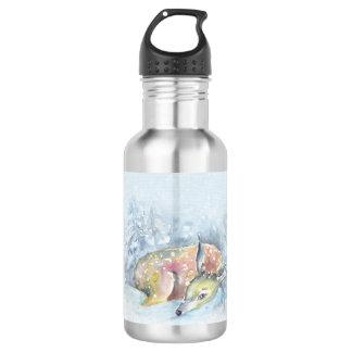 Watercolor Winter Deer in Snow 532 Ml Water Bottle