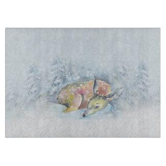 Watercolor Winter Deer in Snow Cutting Board