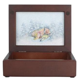 Watercolor Winter Deer in Snow Keepsake Box