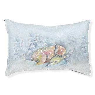 Watercolor Winter Deer in Snow Pet Bed