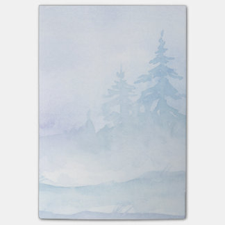Watercolor Winter Green Pine Trees Post-it® Notes