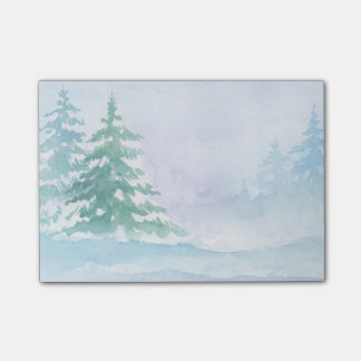 Watercolor Winter Green Pine Trees Post-it Notes