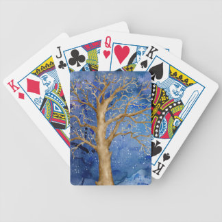 Watercolor Winter Oak Tree Bicycle Playing Cards