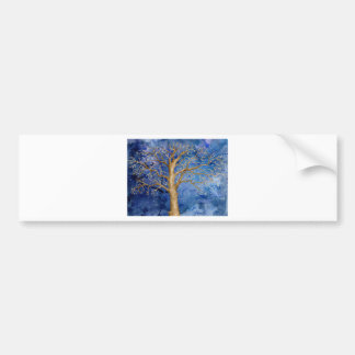 Watercolor Winter Oak Tree Bumper Sticker