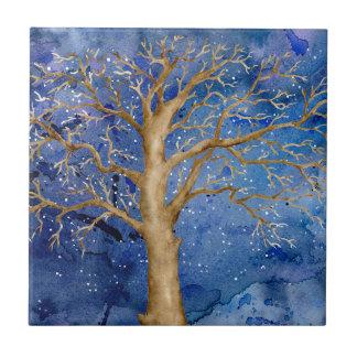 Watercolor Winter Oak Tree Ceramic Tile