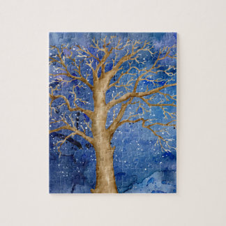 Watercolor Winter Oak Tree Jigsaw Puzzle