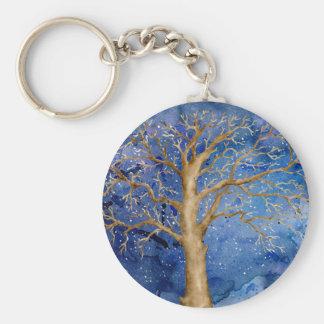 Watercolor Winter Oak Tree Keychain