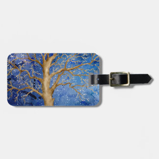 Watercolor Winter Oak Tree Luggage Tag
