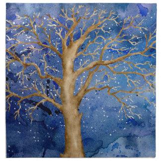 Watercolor Winter Oak Tree Napkin