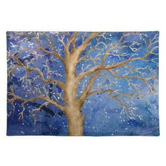 Watercolor Winter Oak Tree Placemat