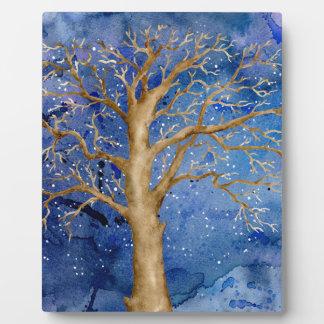 Watercolor Winter Oak Tree Plaque